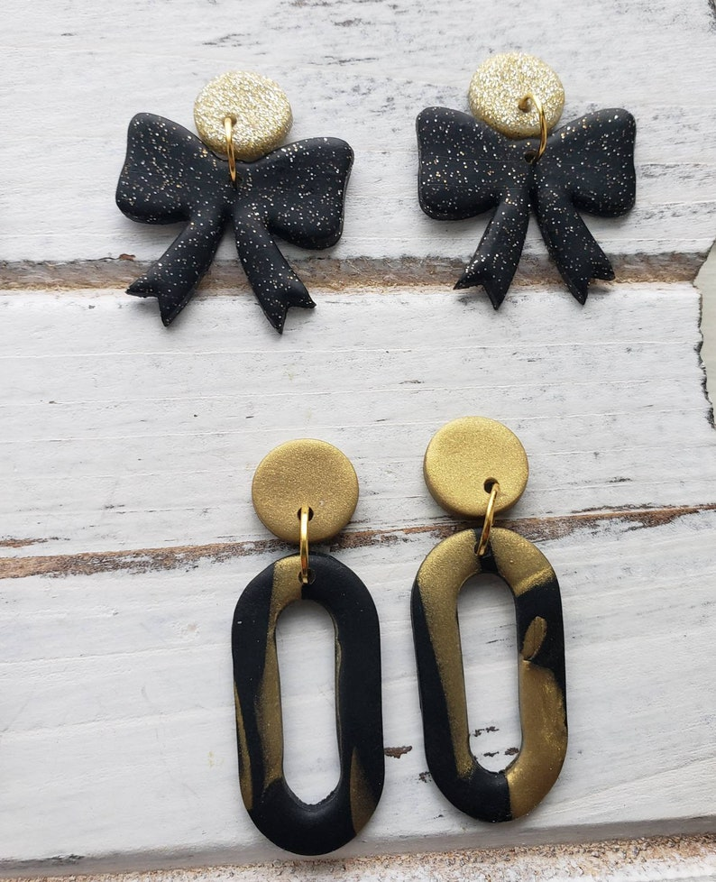 Holiday Earrings Party statement earrings. 2021 GOLDEN VIBES New Years statement earrings Black and gold statement earrings