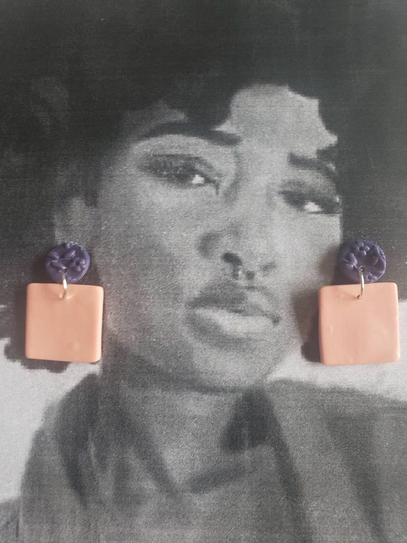 Soft peach and purple floralPolymer clay statement earrings.