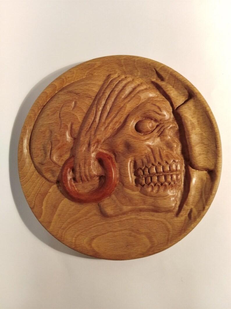 Unique vintage hand carved wooden skull picclick