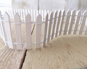 Decorative Outdoor Picket Fence White  from i.etsystatic.com