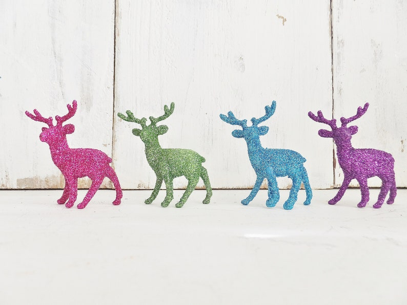 Purple Miniature Glitter Deer ~ Christmas Crafts ~ Fairy Garden ~ Putz House ~ Christmas Ornament Supplies ~ Snow Globe ~ Teal Lime Pink
