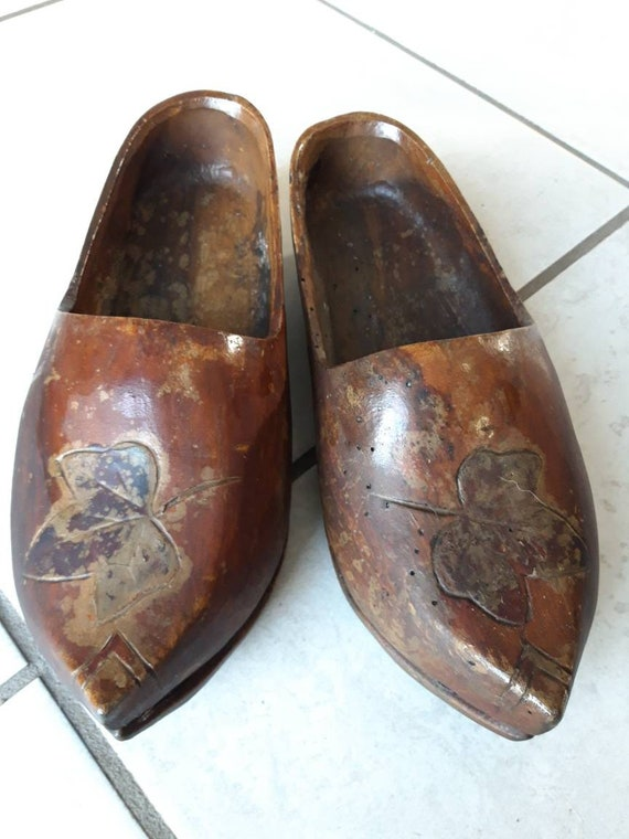 4adcb1a29bde4 Antique French wooden Clogs. Wood shoes.
