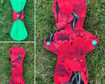 "10"" 'Poppies' moderate cloth menstrual / sanitary pad FREE SHIPPING"