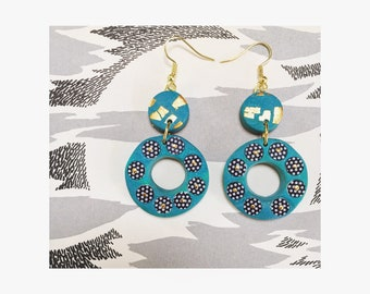 Double circle polymer clay earrings