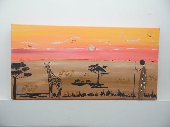 Tableau Peinture Acrylique Afrique Media Mixte Bois Flotte