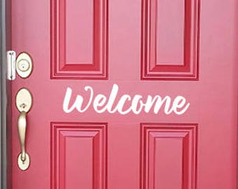 """Front Door """"Welcome"""" Decal - 8 Fonts"""