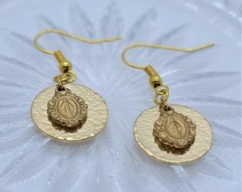 Miraculous Medal Earrings - Gold Earrings - Hammered Metal Earrings - Confirmation Gift