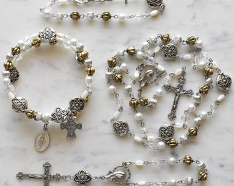Unique Rosary - Catholic Gift - White and Gold Rosary - Blessed Chiara Luce Badano