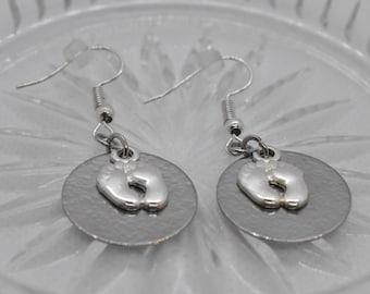 Footprint Earrings - Pro Life Earrings - Mama Earrings - Hammered Metal Earrings