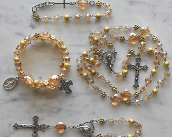 Unique Rosary - Catholic Gift - Yellow and Gold Rosary - St Lucy