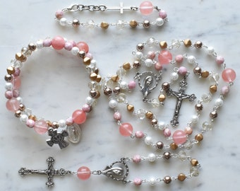 Unique Rosary - Catholic Gift - Pink and Gold Rosary - St. Gianna Molla