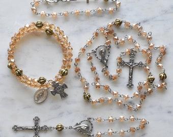 Unique Rosary - Catholic Gift - Yellow Crystal Rosary - St. Elizabeth of Hungary
