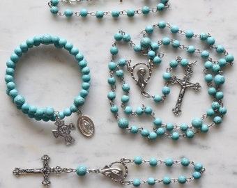 Unique Rosary - Catholic Gift - Turquoise Rosary - St. John the Baptist