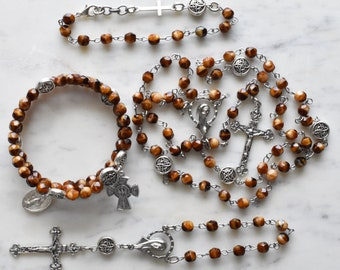 Unique Rosary - Catholic Gift - Brown and Silver Rosary
