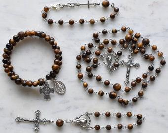 Unique Rosary - Catholic Gift - Brown Rosary - St. Joseph