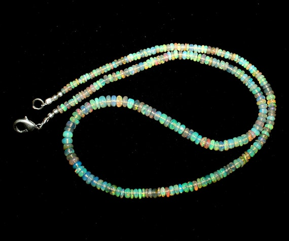 S365 3 to 8 mm 100/% Natural Ethiopian Welo Fire Opal  Roundel Beads strand