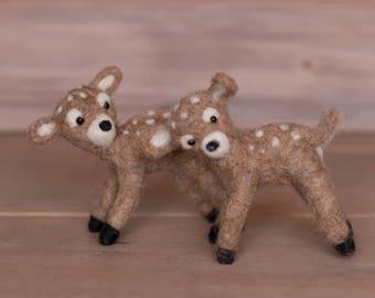 Mini Felted Deer Doe Fawn Baby Newborn Photography Prop Orange