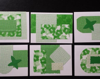 Set of 6  Spring / Green Greeting Cards Blank
