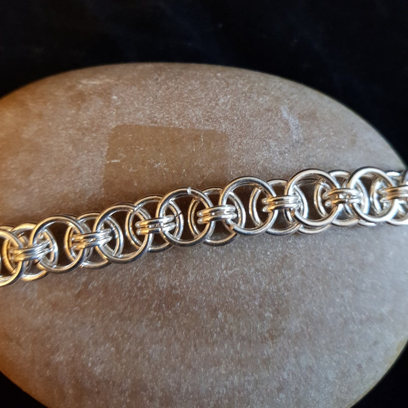 Helms weave chainmail 50 cm silver plate necklace
