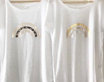 Rainbow tshirt, white tee, organic tshirt, metallic rainbow, leopard rainbow, neon, wide neck tshirt, ladies fashion, womens summer tshirt