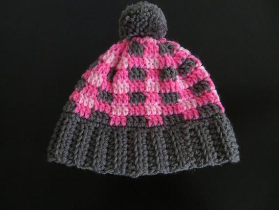 Plaid crochet hat girl hatboy hatchristmas hat winter hat  c1fc43f3b9d