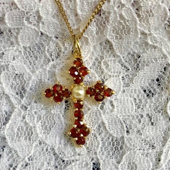 Antique Bohemian Garnet Cross Vintage Garnet Pear… - image 2