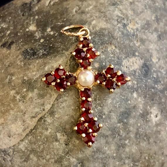 Antique Bohemian Garnet Cross Vintage Garnet Pear… - image 8