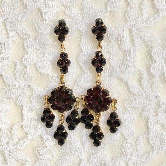 Antique Victorian Garnet Earrings Bohemian Garnet