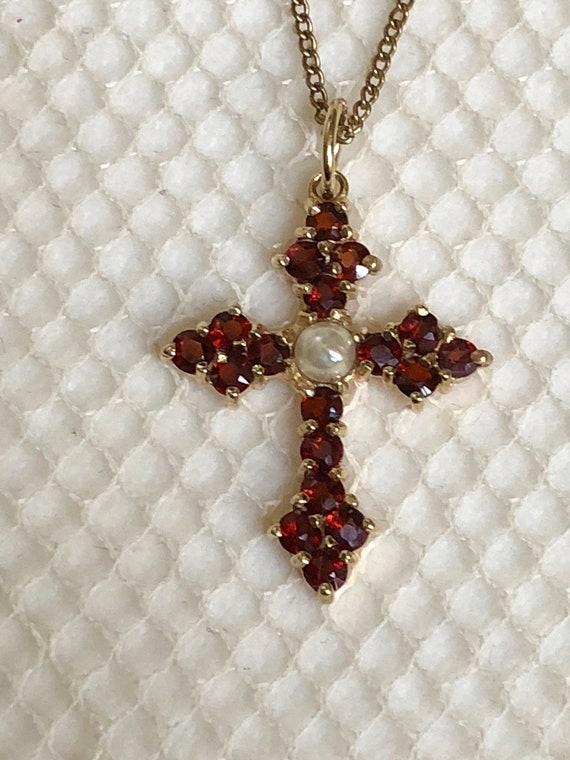 Antique Bohemian Garnet Cross Vintage Garnet Pear… - image 4