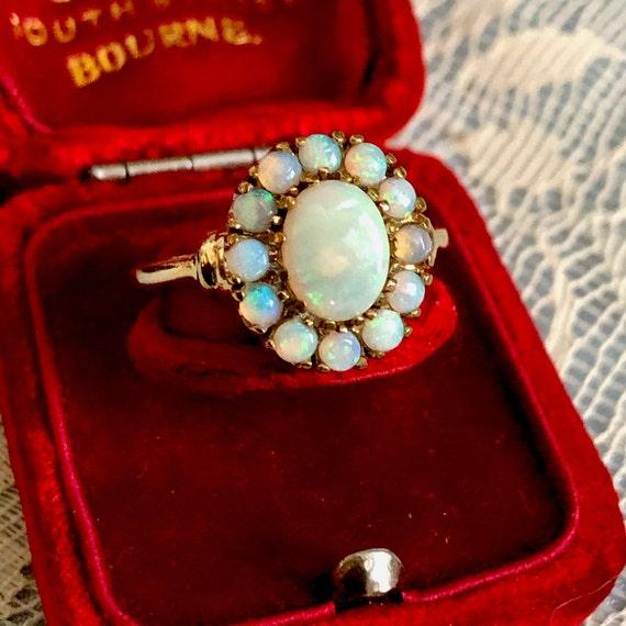 Antique Opal Solid Ring Estate Cluster Opal 10K Go