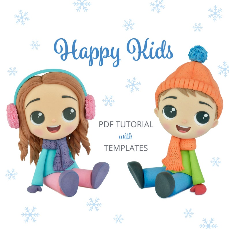 Happy Kids  PDF Cake Topper TUTORIAL with TEMPLATES image 0