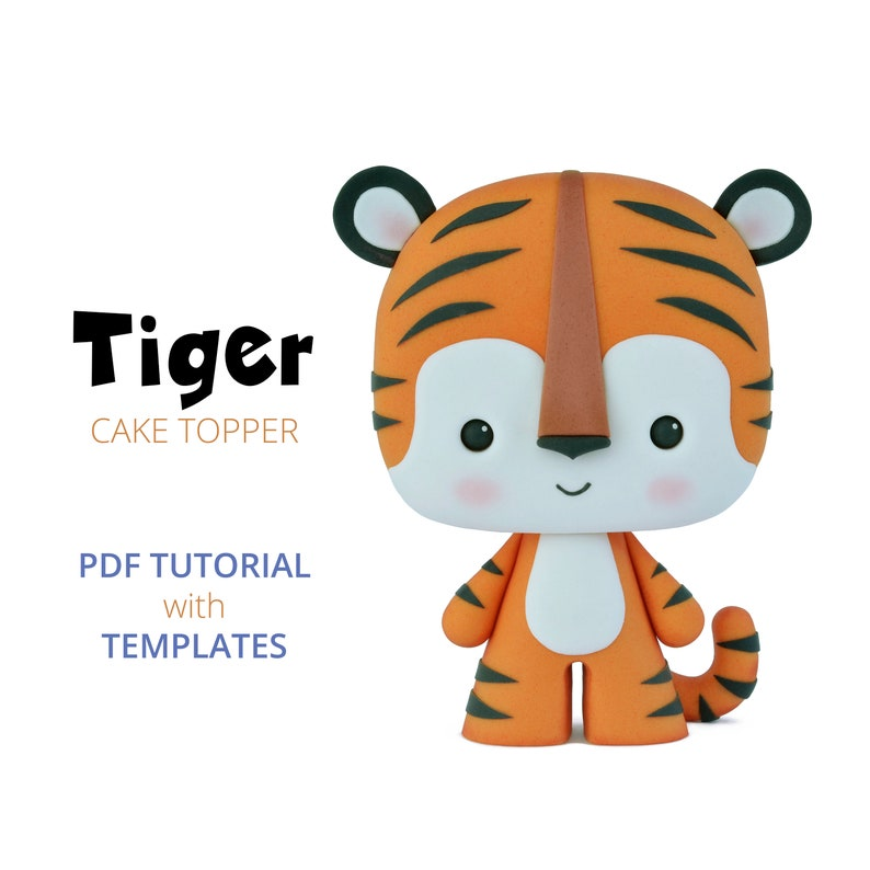 Tiger  PDF Cake Topper TUTORIAL with TEMPLATES image 0