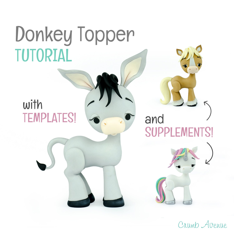Donkey Cake Topper TUTORIAL with Horse & Unicorn Topper | Etsy