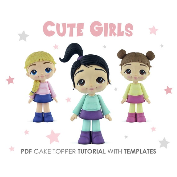 Cute Girls Cake Topper Pdf Tutorial With Templates