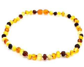 Unpolished amber necklace organic multicolor baltic amber necklace matte amber baby necklace knotted amber for kids amber teething necklace