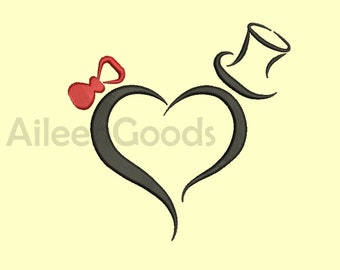 Wedding heart Embroidery design 4 Size  INSTANT download machine embroidery