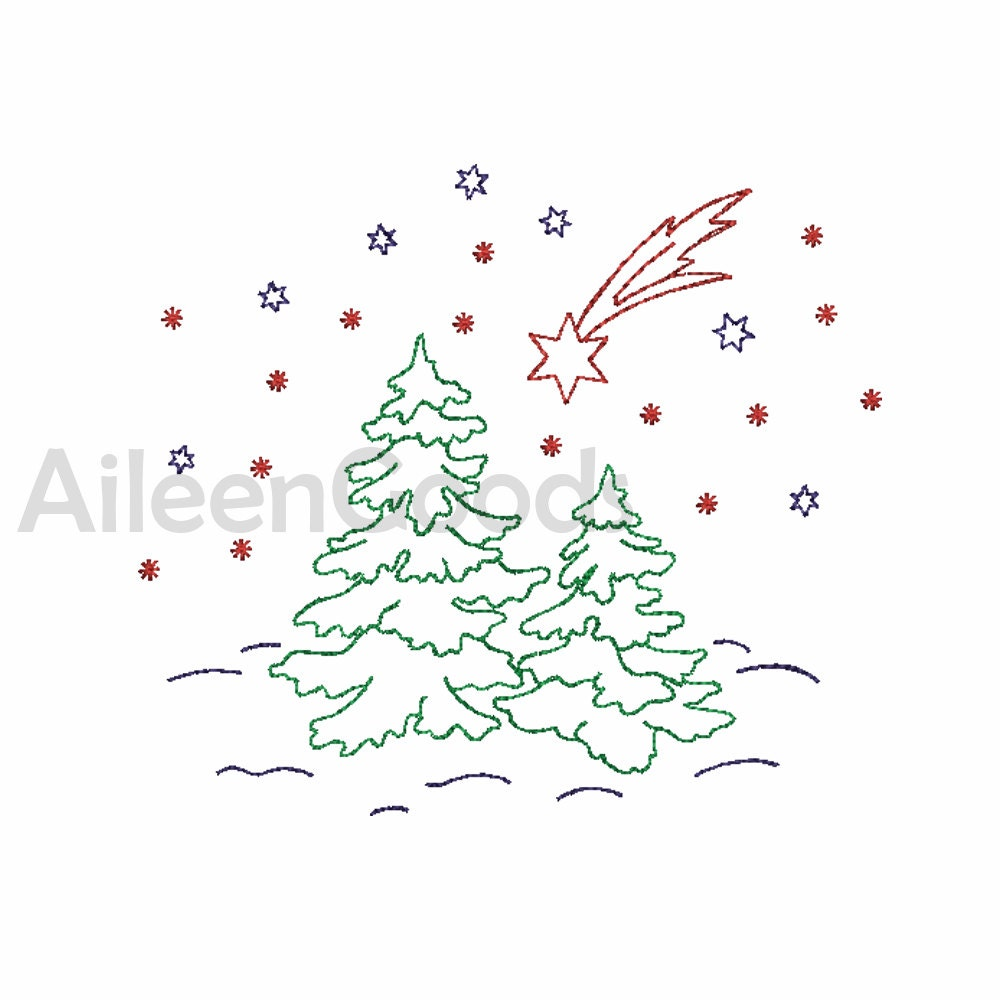 Christmas Tree Embroidery design 4 Size INSTANT download | Etsy
