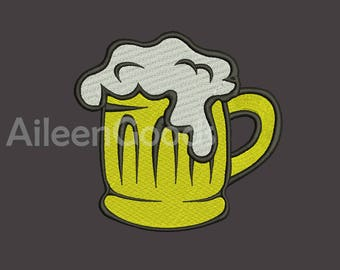 Beer Mug Embroidery design 8 Size  INSTANT download machine embroidery