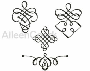 4 Flourishes Embroidery  design 8 Size INSTANT download machine embroidery