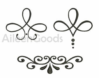 3 Flourishes Embroidery  design 5 Size INSTANT download machine embroidery