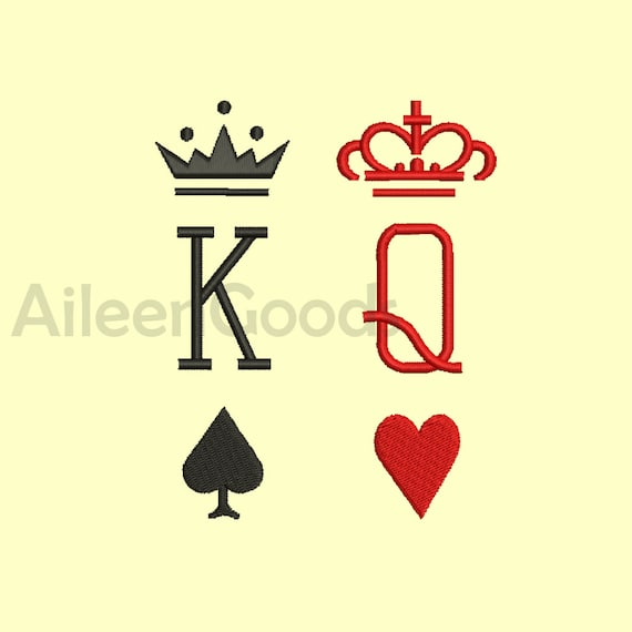 SET King Queen Card Suit Embroidery Designs 7 Size INSTANT