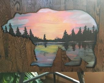 Original paintings with silhouettes of bear or deer