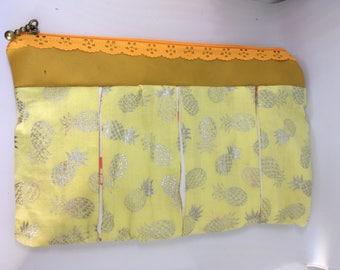 Orange pineapple and Flamingo zip pouch