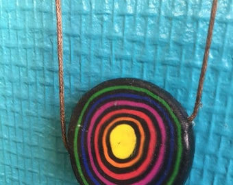 Necklace on black polymer clay Rainbow circle