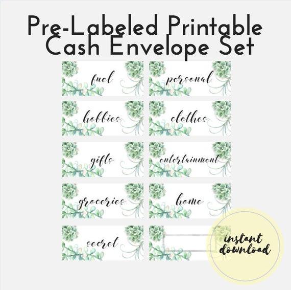 Printable Cash Envelope Pre Labeled Cash Envelope Template Etsy