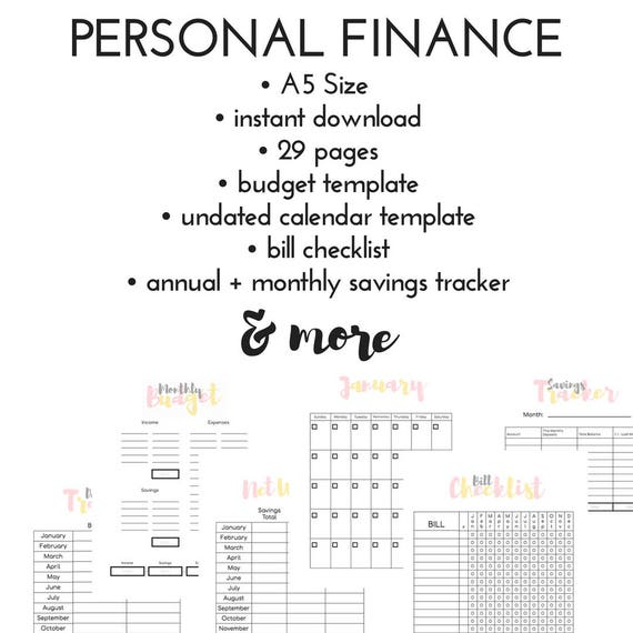 a5 financial planner finance printable finance planner etsy