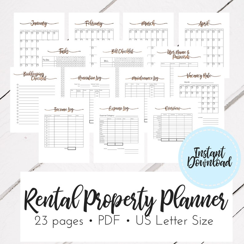 Rental Property Organizer - AirBnB Printable Planner - Air BnB PDF
