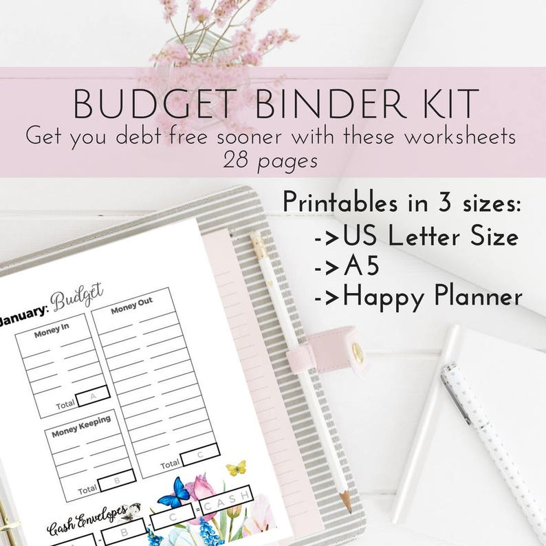 image about Free Happy Planner Budget Printables identify Extremely Finances Planner Package, Content Planner Printable Spending plan, Dollars Envelope Course of action Template, Specific Finance Loved ones Planner Printables