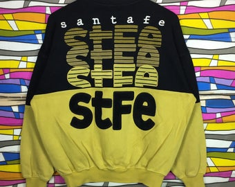 Rare!! Vintage SANTAFE Spellout Big Logo Crewneck Yellow Black Colour Sweatshirt
