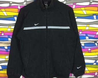 vintage NIKE swoosh sweater Small Logo Full Zipper Black Colour sportwear clothing